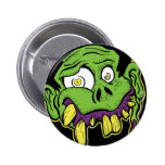 Green Zombie Head Pin