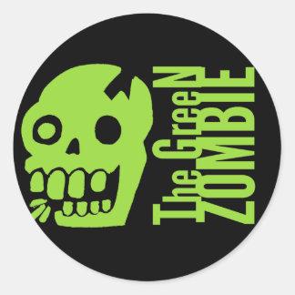 Green zombie round sticker