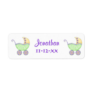 GreenBaby Buggy Carriage Name Birthdate Customized Return Address Label