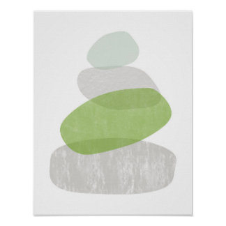 Greenery abstract distressed poster print