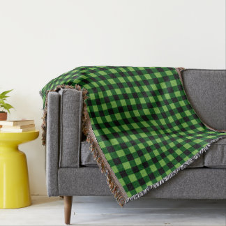 Greenery and Black Buffalo Plaid Throw