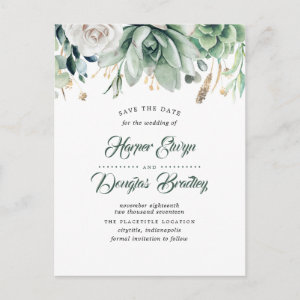 Greenery and Gold Elegant Botanical Save the Date Announcement Postcard