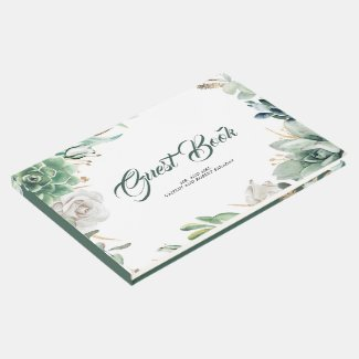 Greenery and Gold Elegant Botanical Wedding Guest Book