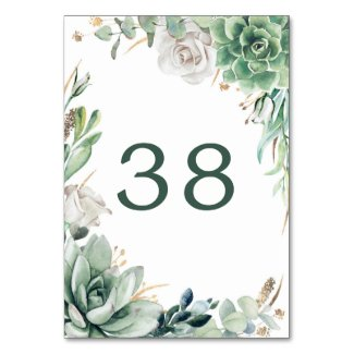 Greenery and Gold Wedding Table Number Cards