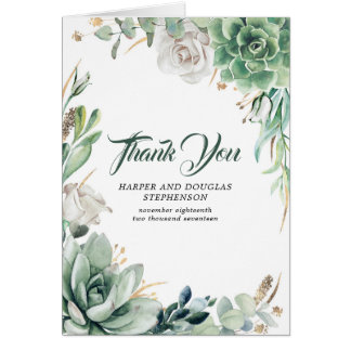 Greenery and Gold Wedding Thank You Card