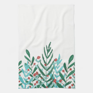 Greenery and holly, Christmas kitchen decor Kitchen Towel