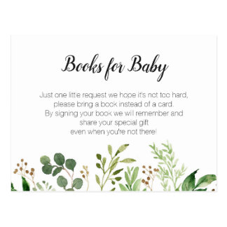 Greenery Baby Shower - Bring a book insert Postcard