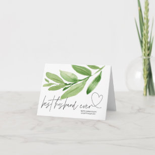 Greenery Best Husband Ever Anniversary Gift Him Card