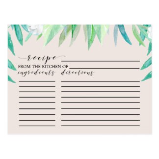 Greenery Botanical Bridal Shower Recipe Cards