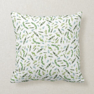 Greenery Botanical Foliage Woodland Forest Floral Throw Pillow