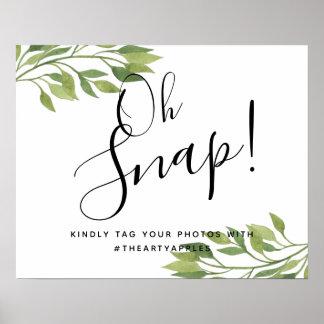greenery botanical oh snap wedding sign hashtag