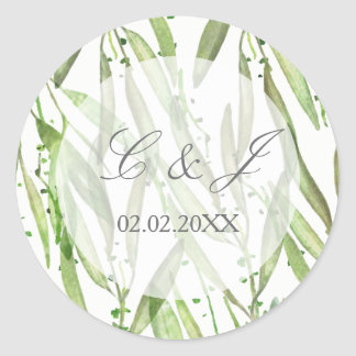 Greenery Botanical Wedding Classic Round Sticker