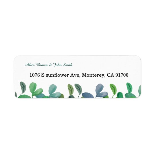 Greenery Botanical wedding return address label