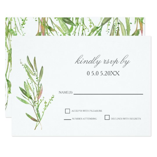 Greenery Botanical Wedding RSVP Card