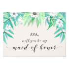 Greenery Botanical Will You Be My Maid Of Honour Card