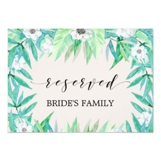 "Greenery Botanical Wreath Wedding ""Reserved"" Sign Card"