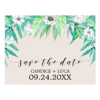 Greenery Botanical Wreath Wedding Save the Date Postcard