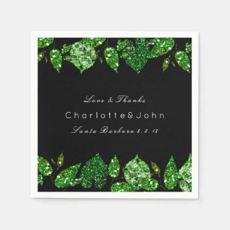 Greenery Cali Green Glitter Black Ivy Leafs Disposable Napkin