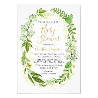 Greenery Elegant Baby Shower Invitation Cards