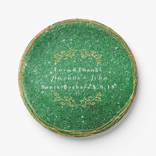 Greenery Emerald Green Gold Floral Glitter VIP 7 Inch Paper Plate
