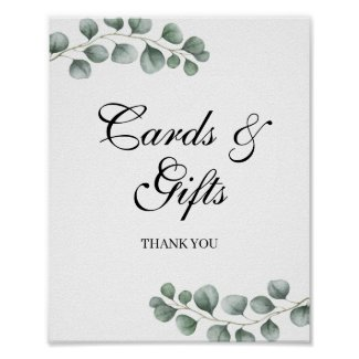 Greenery Eucalyptus Wedding Cards and Gifts Sign