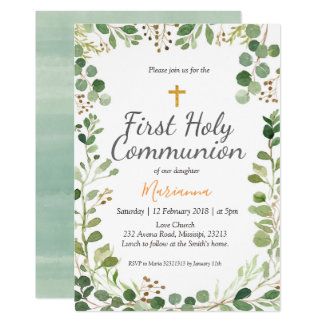 Greenery First Holy Communion Invitation