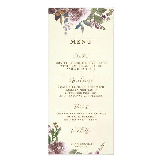 greenery floral boho wedding menu cards
