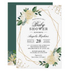 Greenery Floral Gold Glitters Baby Shower Brunch Card