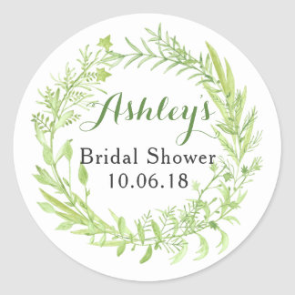 Greenery Floral Wreath Bridal Shower Thank You Classic Round Sticker