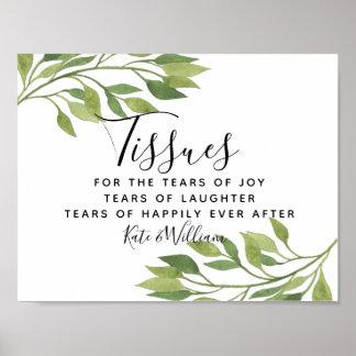 greenery foliage ceremony tissues wedding sign