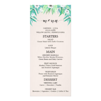 Greenery Garden Botanical Wreath Wedding Menu Card