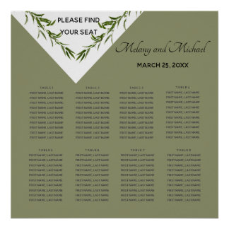 Greenery geometrical leaves branch Seating Chart