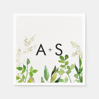 Greenery & Gold Leaf Framed Wedding Monogram Disposable Napkin