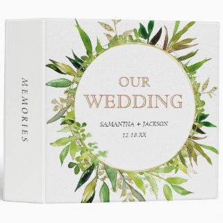 Greenery & Gold Leaf Framed Wedding Photo Album 3 Ring Binders