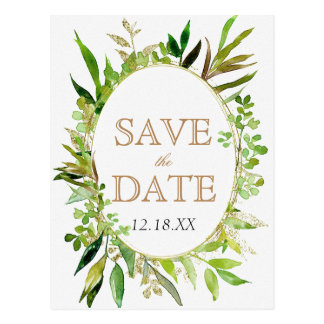 Greenery & Gold Leaf Framed Wedding Save the Date Postcard