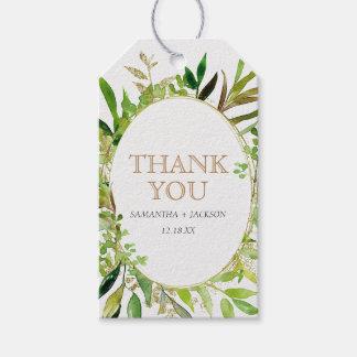 Greenery & Gold Leaf Framed Wedding Thank You Gift Tags