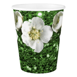 Greenery Grass Green Glitter Flower White Jasmin Paper Cup