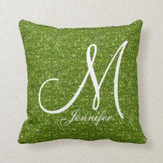 GREENERY GREEN glitter white Monogram YOUR NAME Throw Pillow