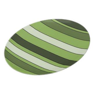 Greenery Green Horizontal Stripes Pattern Elegant Dinner Plates