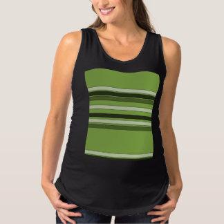Greenery Green Horizontal Stripes Pattern Elegant Maternity Tank Top