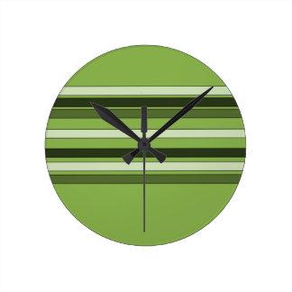 Greenery Green Horizontal Stripes Pattern Elegant Round Clock