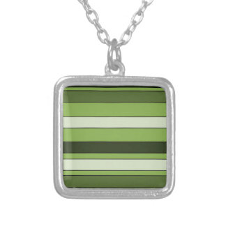 Greenery Green Horizontal Stripes Pattern Elegant Silver Plated Necklace