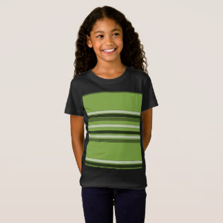 Greenery Green Horizontal Stripes Pattern Elegant T-Shirt