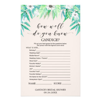 """Greenery """"How Well Do You Know The Bride"""" Game Flyer"""