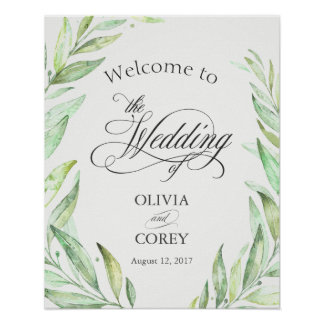 Greenery Laurel Wreath Welcome Signage Poster