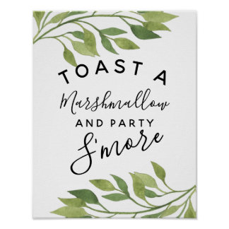 greenery leaf green s'more wedding or party poster