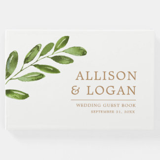 Greenery Leaves Wreath Elegant Wedding Guest Book