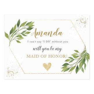 Greenery Maid of Honour or BRIDESMAID proposal Postcard