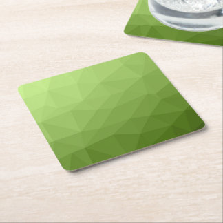 Greenery ombre gradient geometric mesh square paper coaster