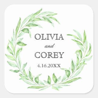 Greenery Open Laurel Wreath Wedding Square Sticker